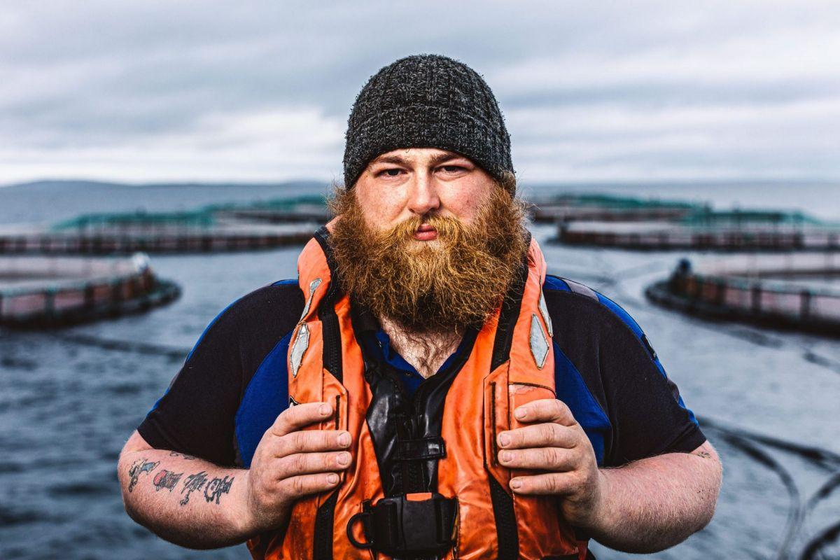 heavily bearded salmon farmer