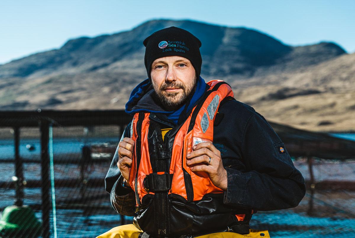 Scottish salmon farmer portrait