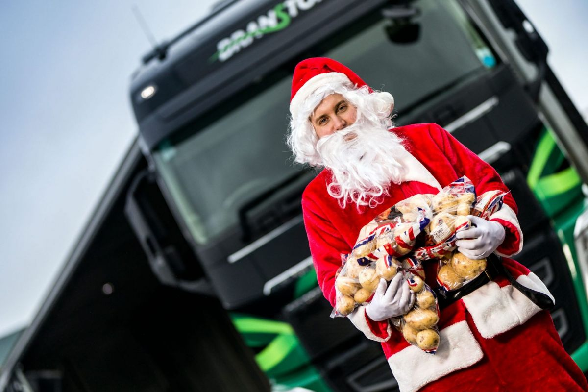 Santa Claus with Branston Potatoes