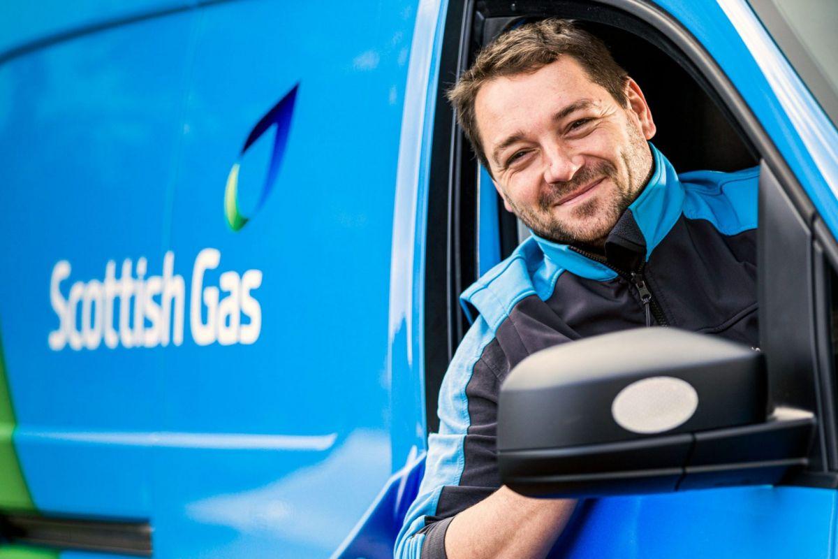 Scottish Gas employee in van