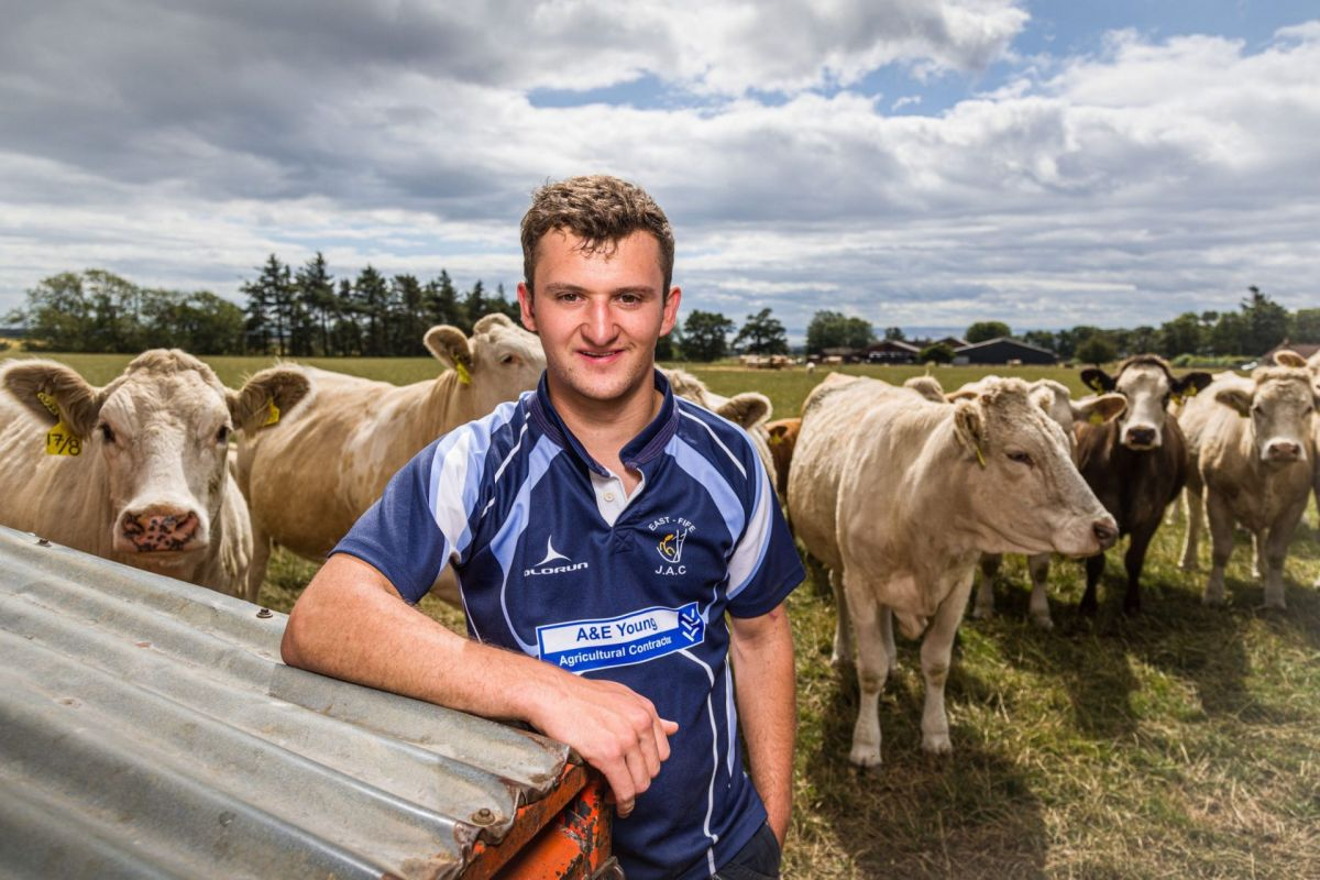 young beef producer with cattle