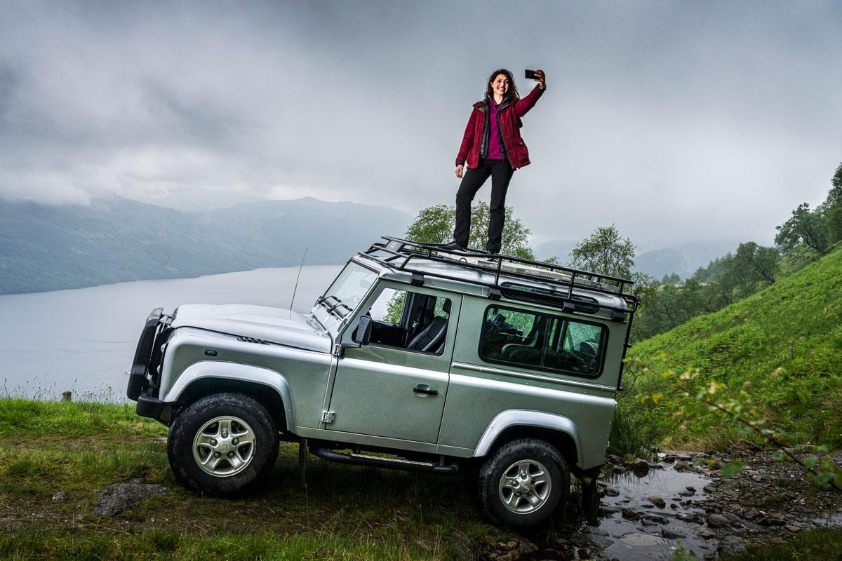 Land Rover defender selfie