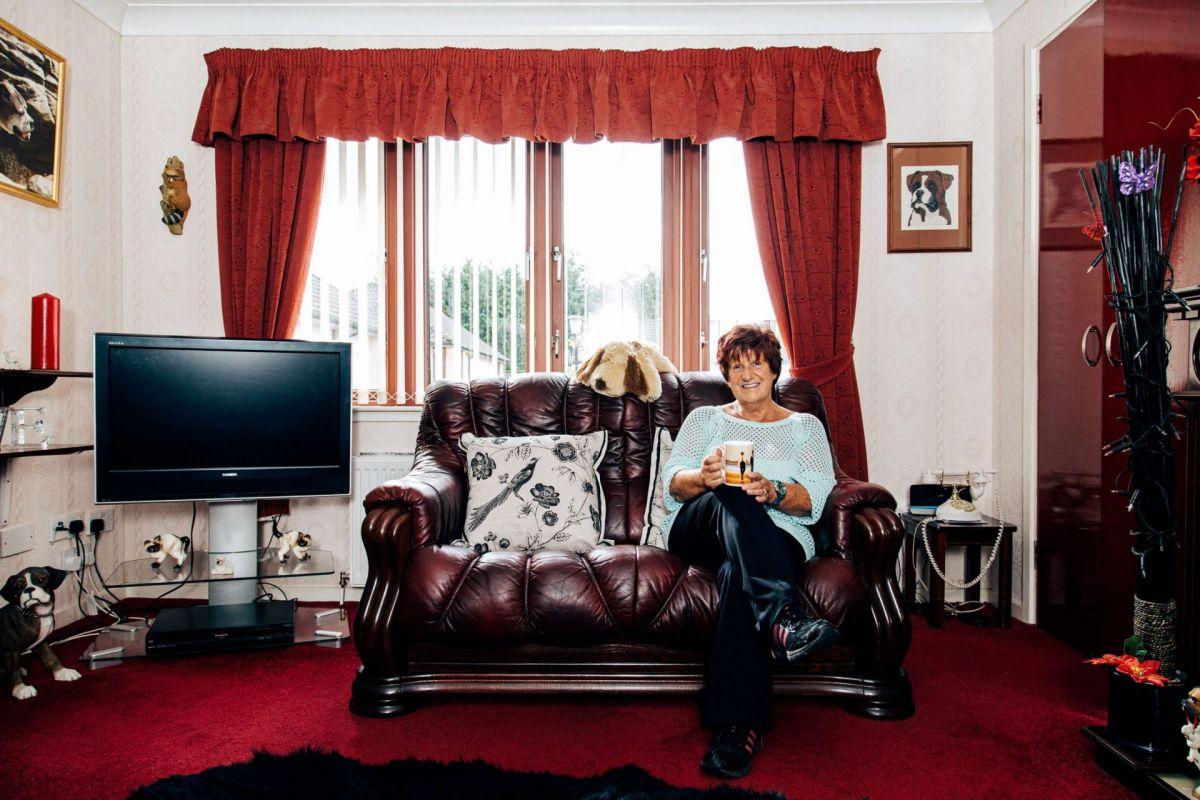 Glamorous pensioner at home
