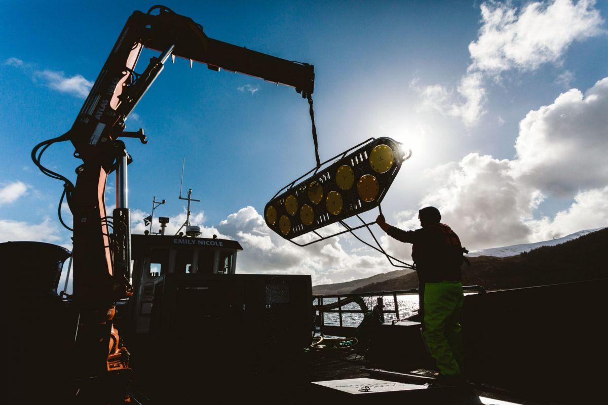 salmon pen net cleaning boat
