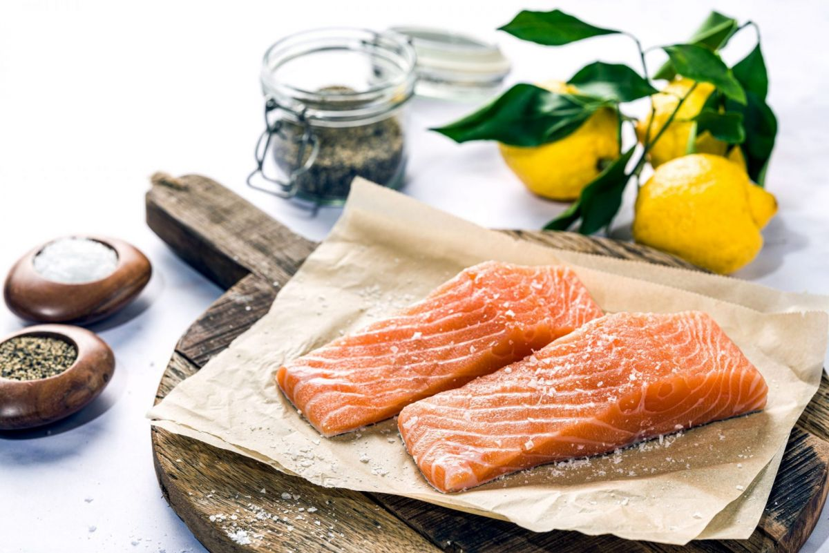 raw fillets of salmon