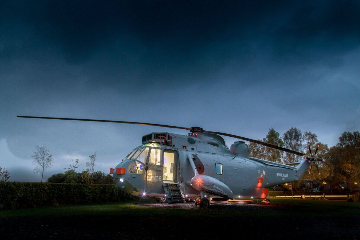 sea king helicopter glamping scotland